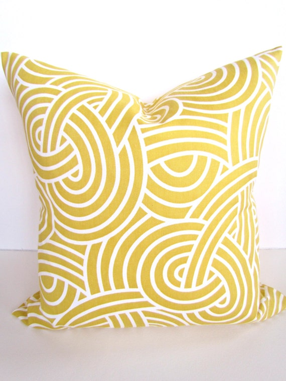 PILLOW Throw Pillow Cover 18x18 YELLOW GOLD by SayItWithPillows