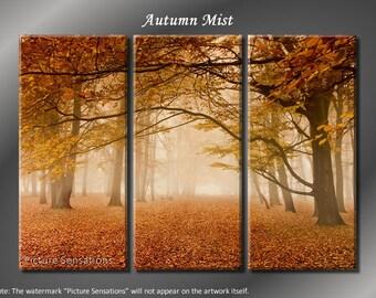 Framed Huge 3 Panel Art Foggy Mist Autumn Tree Giclee Canvas Print - Ready to Hang