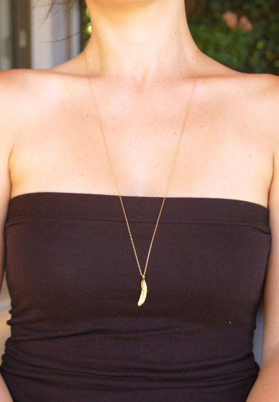 Long Gold Feather Necklace Feather Necklace Gold