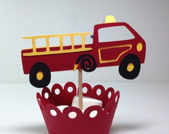 Toy FireTruck Cupcake Toppers...Birthday/Baby Shower