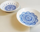 Set of 2 Porcelain Tapas/Salt/Jewellery Bowl/Plates  - hand drawn/decorated in blue Lace & Floral pattern