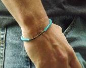 Mens turquoise czech glass beaded bracelet