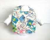 Children Clothing, Travel and Blue Reversible Baby Bib, Ready to Ship, Baby Gift