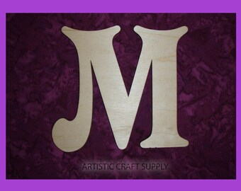 "Unfinished Wood Letter M Wooden Letters 6"" Inch Tall"