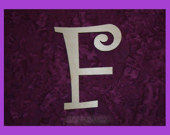 unfinished wood letter F wood letter 6 inch tall Curlz Font
