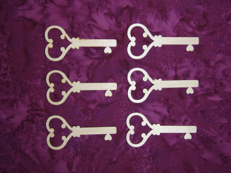 Heart Key Shape Wood Cut Outs Unfinished Wooden Keys 6 Pieces