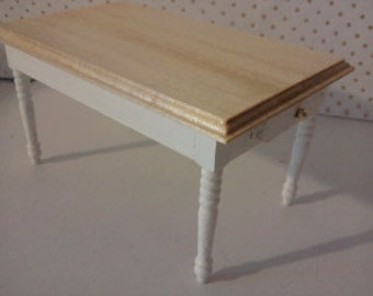 Doll house table kitchen furniture 1 12th scale miniature work table in the colourer of your choice