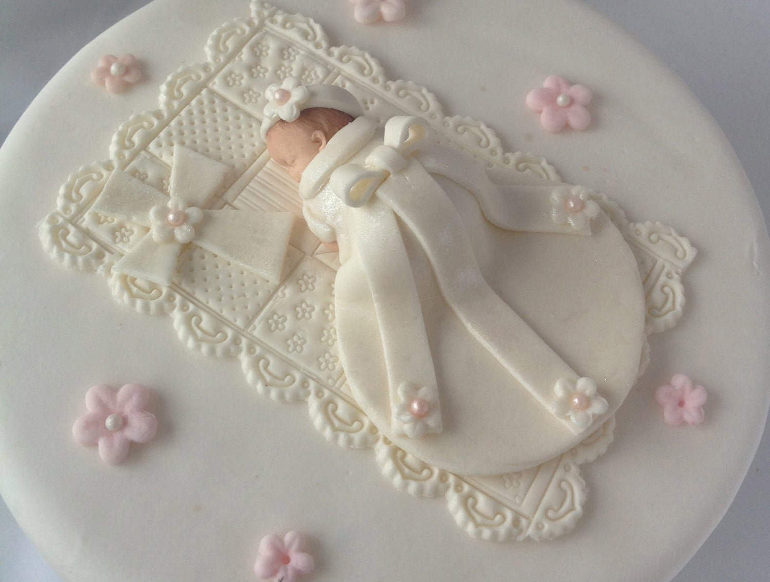 Christening cake topper baby girl first birthday by for Baby girl baptism decoration ideas