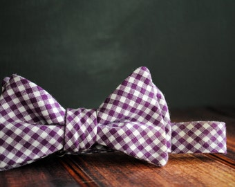 Men's Self-Tie Freestyle Pre-Tied Bow Tie - Plum Purple Gingham