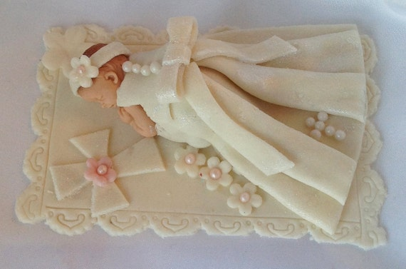 Cake Toppers For Baby Girl Christening : Items similar to FONDANT CHRISTENING CAKE Topper ...