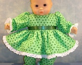 15 Inch Doll Clothes - Tiny Shamrocks on Green Baby St. Patrick's Day Outfit made to fit 15 inch baby dolls