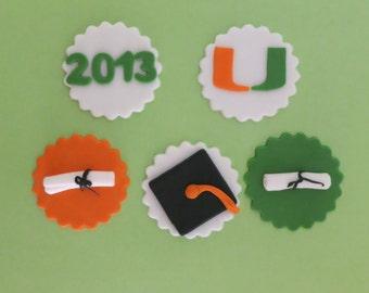 Graduation Cupcake toppers- cap, diploma and class of 2013