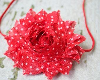 Red and White Polka Dot Shabby Chic Headband, Newborn Headband, Infant Headband, Photo Prop, Many Colors