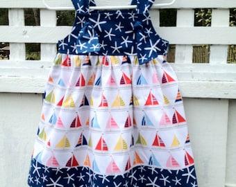 Girls knot Dress Toddler Dress Starfish and Sailboats Beach Dress Summer Dress