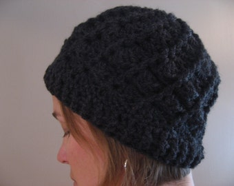 Adult Crocheted Beanie Style Hat. Spiral Divine Design. Women's Size. Choose your Color.