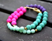 Multi-Colored Magnesite Wrap Bracelet with Lobster Clasp - Turquoise Mint Purple Pink Color Block Stone Beads