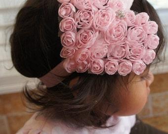 Large Pink Heart Shape Flower Headband, Girl Headband, Baby Girl Headband, Infant Girl Headband, Newborn Girl Headband