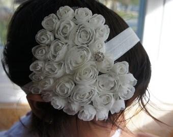 Large Ivory Heart Shape Flower Headband, Girl Headband, Baby Girl Headband, Infant Girl Headband, Newborn Girl Headband