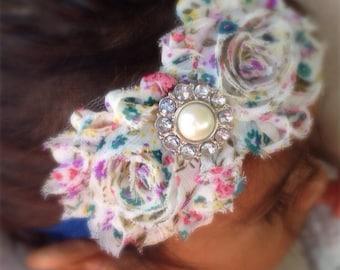 Blue Floral Print Shabby Chiffon Flower Headband, Girl Headband, Baby Girl Headband, Infant Girl Headband, Newborn Girl Headband