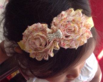 Floral Print Shabby Chiffon Flower Headband, Girl Headband, Baby Girl Headband, Infant Girl Headband, Newborn Girl Headband