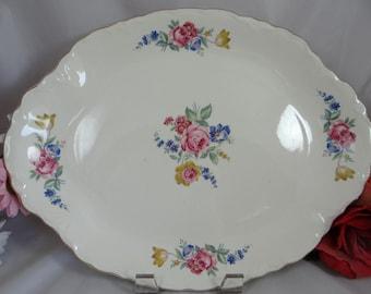 """Mid Century  Vintage  13"""" Rose Oval Serving Platter"""