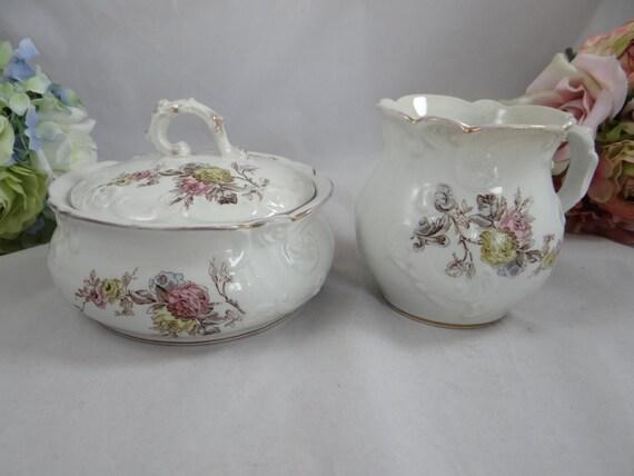 1802-08 Antique Bagshaw and Meir B&M China English Bone China Porcelain Creamer and Sugar