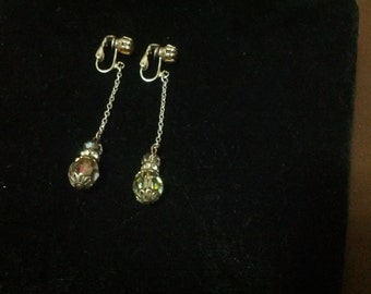Vintage silver and Aurora borealis style beads dangling earrings with clasp backs