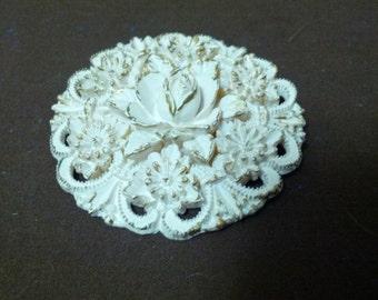 Vintage Plastic floral brooch with cream color
