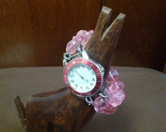 Fashion fun pink beaded Quartz watch
