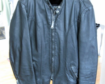 1960s-1970s Brooks Mens Leather Motorcycle Jacket Size 42