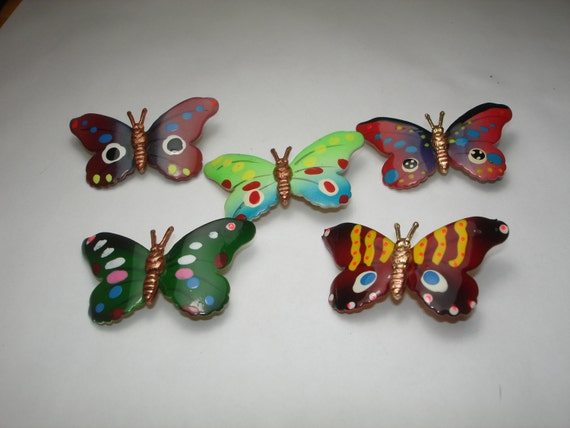 Five Vintage Hand Painted Butterfly Brooches