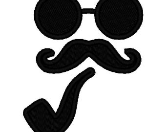Glasses and Moustache Mustache Pipe Silhouette APPLIQUE. Machine Embroidery Design Digitized File