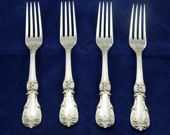 Set of 4-Reed & Barton Burgundy Sterling Silver Luncheon Forks-No Monograms-SKU: MISC-1208