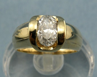 0.90 ct Oval Diamond Engagement Ring in 14K Yellow Gold, Sz 5.75, SKU R-1813