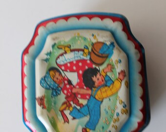 Vintage Rare Nursery Rhyme Tin Jack & Jill Humpty Dumpty