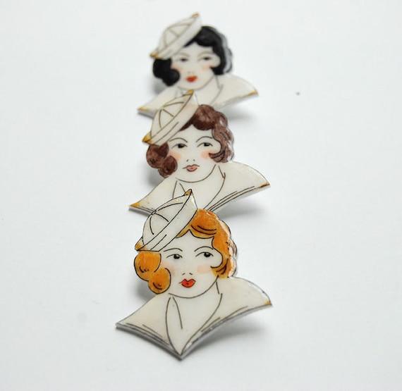 Hand drawn vintage sailor girl tattoo brooch