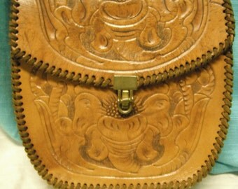 70s western style handtooled leather purse