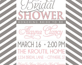 BRIDAL SHOWER INVITATION pink and grey
