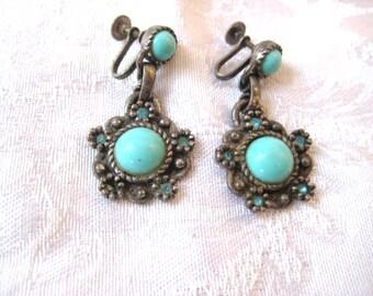 sale Turquoise Victorian Earrings, Screw on Gypsy Earrings, dangling earrings