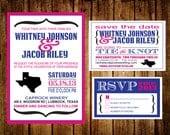 Printable DIY State of Love Wedding 3 Piece Invitation Set