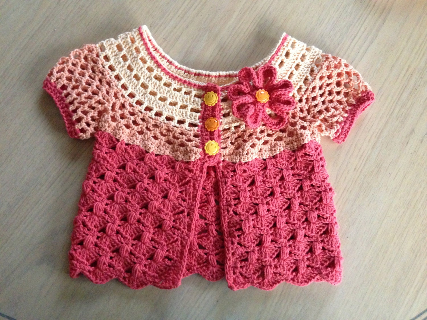 Crocheting Sweaters : Crochet Pattern for Baby Cardigan Sweater Sunburst Cardigan