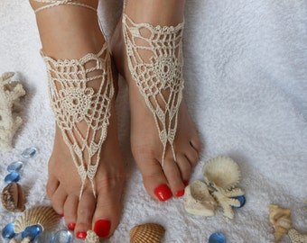 Crochet Barefoot Sandals Beach Wedding  Yoga Shoes Foot Jewelry Beige