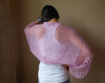 Knitted  Shrug Bolero Summer Shrug Lace Pink