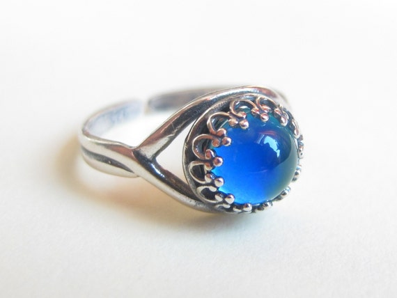 Mood Ring Sterling Silver 925 - (Antique) - 7 mm - High Quality - adjustable - new