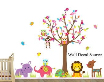 Jungle Animal Decal - Jungle Tree Wall Decal - Colorful Tree Decal