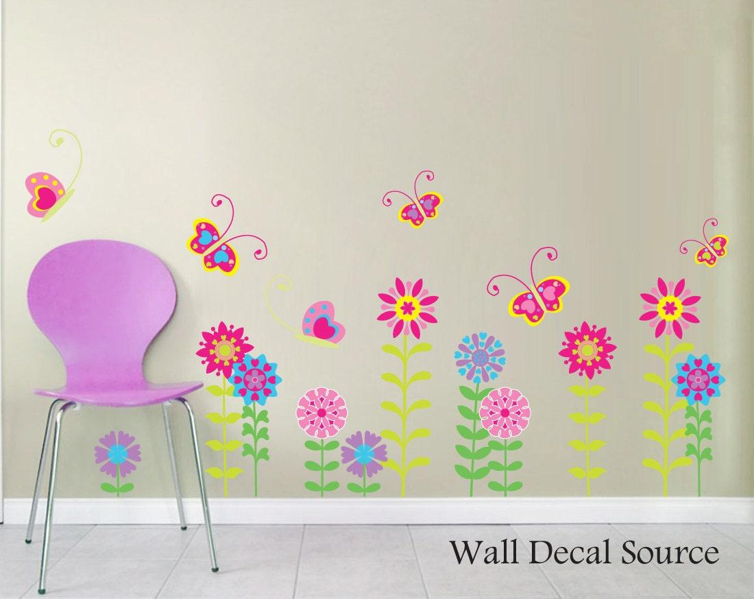 Flower Wall Decal Floral Wall Art Butterflies by WallDecalSource