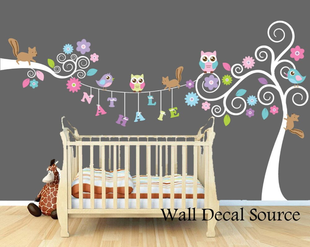 nursery wall decals monogram wall decals by walldecalsource. Black Bedroom Furniture Sets. Home Design Ideas