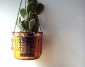 vintage glass hanging planter, modern amber glass planter
