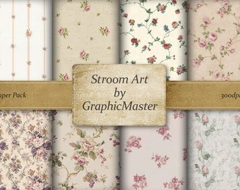 Shabby Chic Pastel Roses paper floral digital collage sheet set 8 vintage 12 inches floral papers, Printable background instant download 006