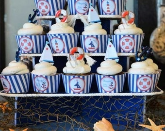 Nautical Cupcake Wrappers - INSTANT DOWNLOAD